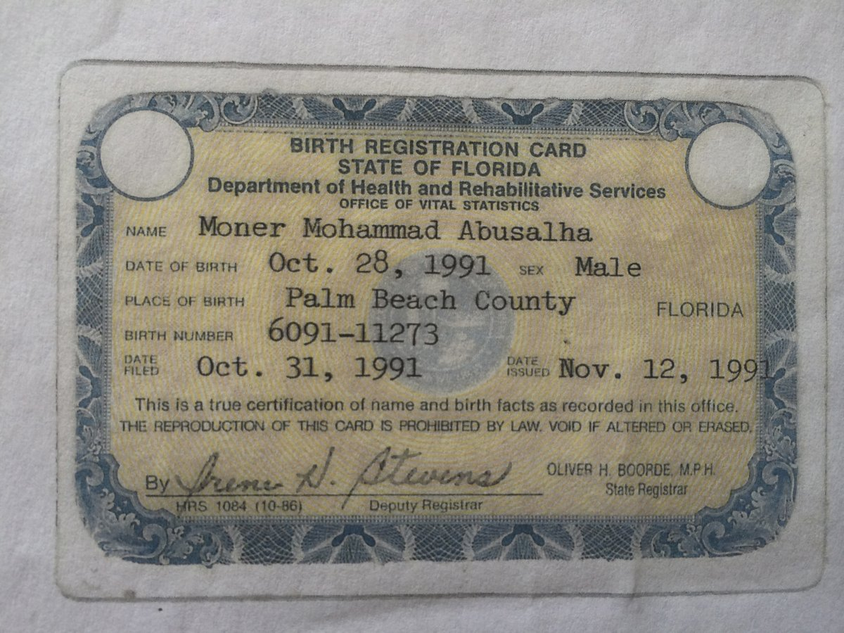 Special coverage 11273 gm - Moner Mohammad Birth Registration Card Reuters The Florida Birth Registration Card Of Moner Mohammad Abu Salha Who Died In A Suicide Bombing In Syria In