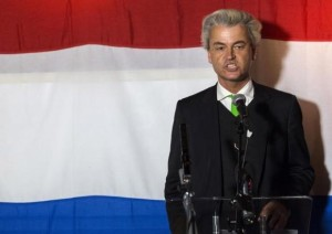 Far-right politician Geert Wilders of the anti-immigration Dutch Freedom (PVV) Party speaks at a PVV rally after the European Parliament elections in the Hague
